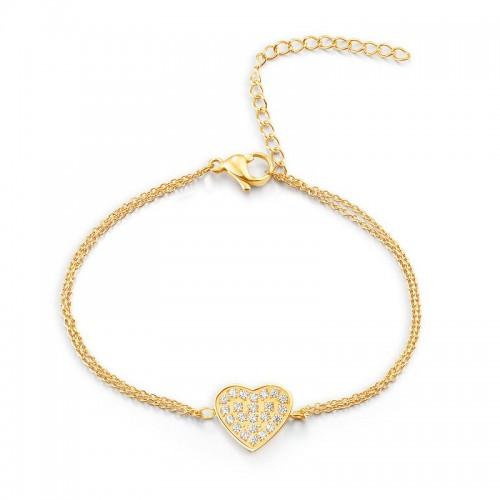 Armband HEART Poliert Edelstahl Golden