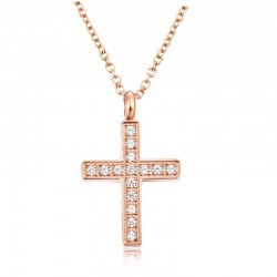 Halskette Cross Poliert Edelstahl Rosé