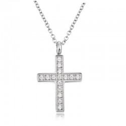 Halskette CROSS Poliert Edelstahl Silbern