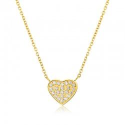 Halskette HEART Poliert Edelstahl Golden