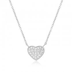 Halskette HEART Poliert Edelstahl Silbern