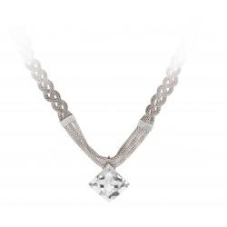 Halskette Edelstahl Silbern Crystal