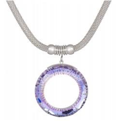 Halskette Edelstahl Silbern Crystal Vitral Light