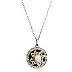Halskette Edelstahl Silbern Golden Poliert Perle White