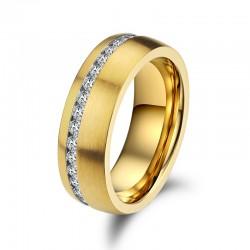 Ring SHINY Mattiert Edelstahl Golden Zirkonia Weiß