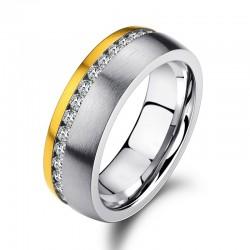 Ring SHINY Edelstahl Silbern Golden Mattiert Zirkonia Weiß