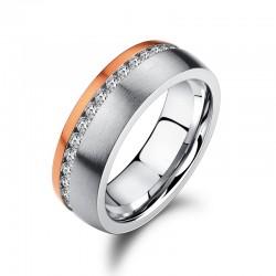 Ring SHINY Edelstahl Silbern Rosé Mattiert Zirkonia
