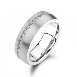 Ring SHINY Mattiert Edelstahl Silbern Zirkonia