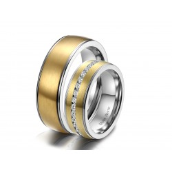 Ringe PERCY-PRETTY Partnerringe Edelstahl Mattiert Silbern Golden Zirkonia