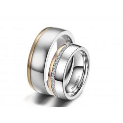 Ringe STANLEY-SHINY Partnerringe Edelstahl Poliert Silbern Golden Zirkonia
