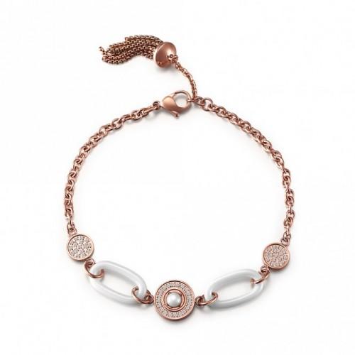 Armband CHRISTINE Edelstahl Rosé Keramik Weiß Zirkonia Weiß