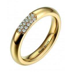 Ring CERES Poliert Edelstahl Golden Zirkonia Weiss