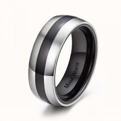 Ring  JACKY Poliert Edelstahl Silbern Keramik Schwarz