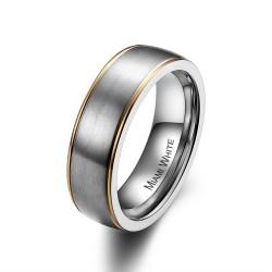 Ring PERCY Mattiert Edelstahl Silber Golden