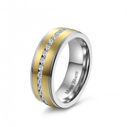 Ring PRETTY Edelstahl Mattiert Golden Silbern Zirkonia