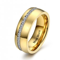 Ring SHINY Poliert Edelstahl Golden Zirkonia Weiß