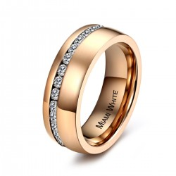 Ring SHINY Mattiert Edelstahl Rosé Zirkonia