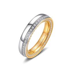 Ring VENUS Edelstahl Poliert Silbern Golden Zirkonia