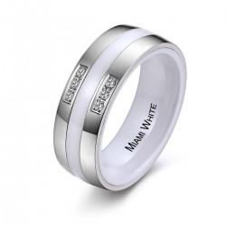 Ring WHITNEY Edelstahl Poliert Keramik Weiss Zirkonia