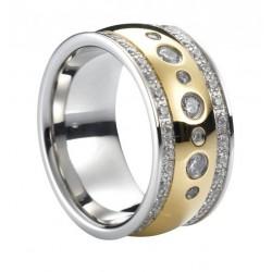 Ring CELINE Poliert Edelstahl Golden Silbern Zirkonia