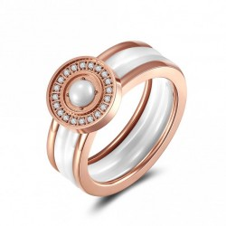 Ring  CLAIRE Poliert Edelstahl Rosé Keramik Weiss
